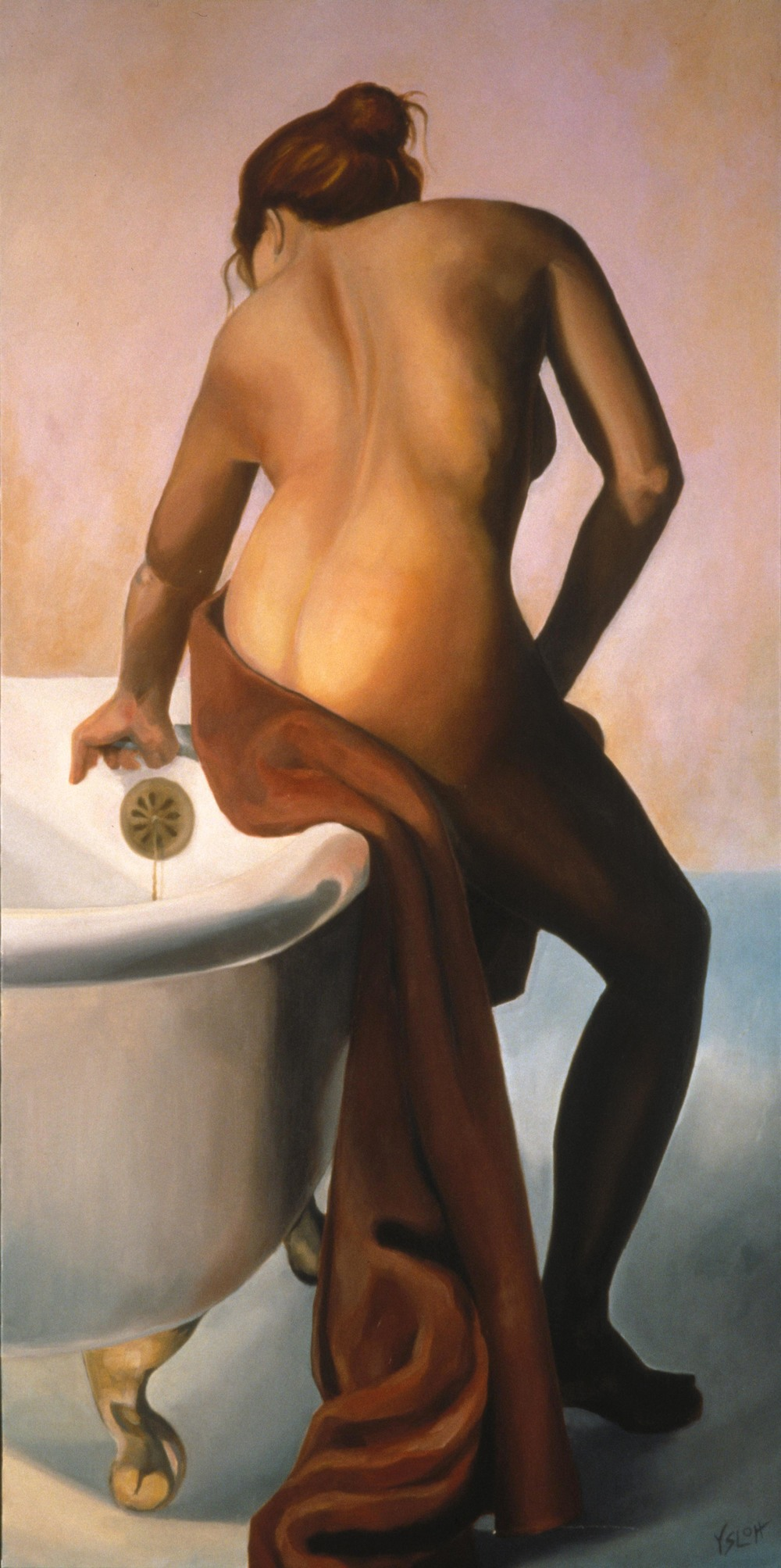 Woman Bathing   oil on canvas, 48 x 24         Sharon Brown, private colllection