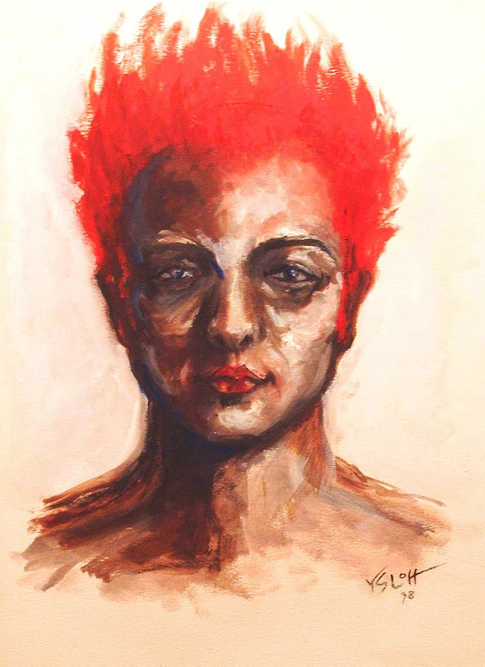 Firehead   oil on paper, 22 x 15      Reece Suarez, private colllection