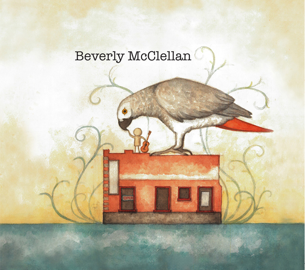 CD cover design for my very talented friend,  Beverly McClellan .  It is a fairy tale abstraction of Beverly's childhood in Tennessee - the facade of her father's auto shop, the only candy store in town and Bear, her parrot. The original artwork was done in watercolor on paper.