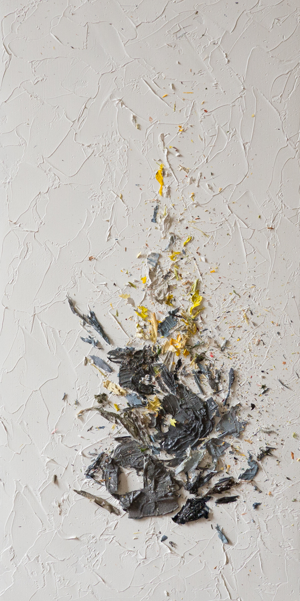 The Complexities of Emotions No.12   oils & oil paint scrapings on wood panel, 12 x 6