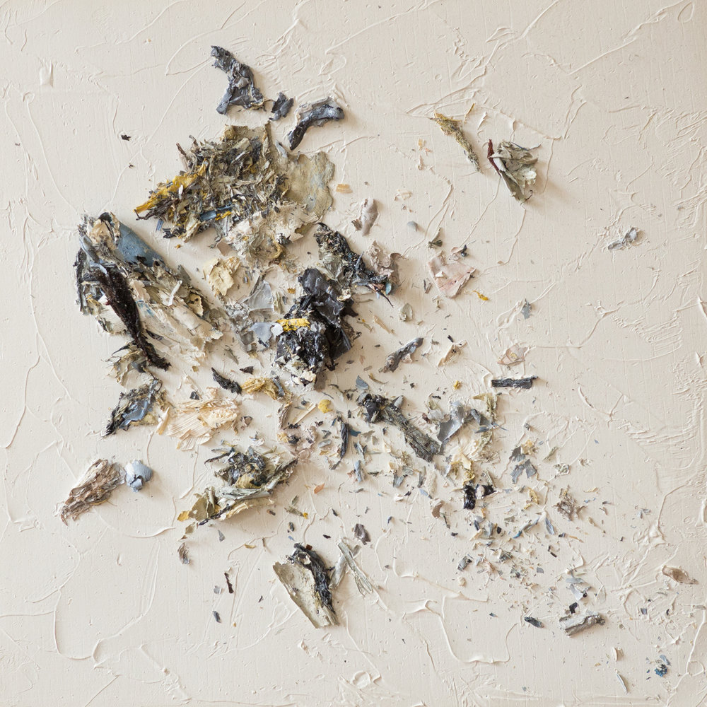 The Complexities of Emotions No.5   oils & oil paint scrapings on wood panel, 6 x 6