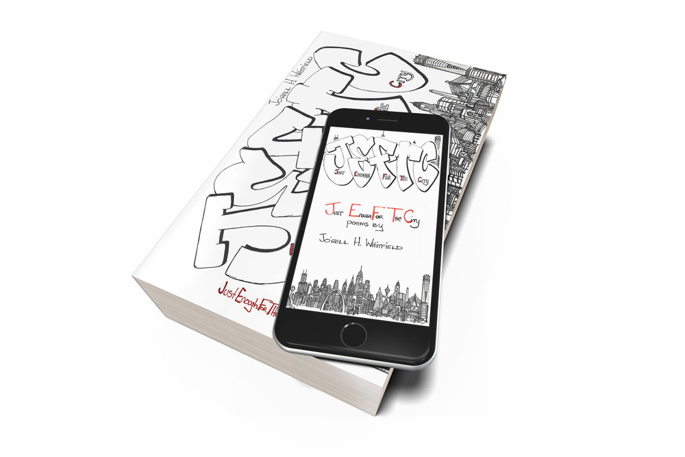 Copy of Just Enough For The City Poetry Book and Phone