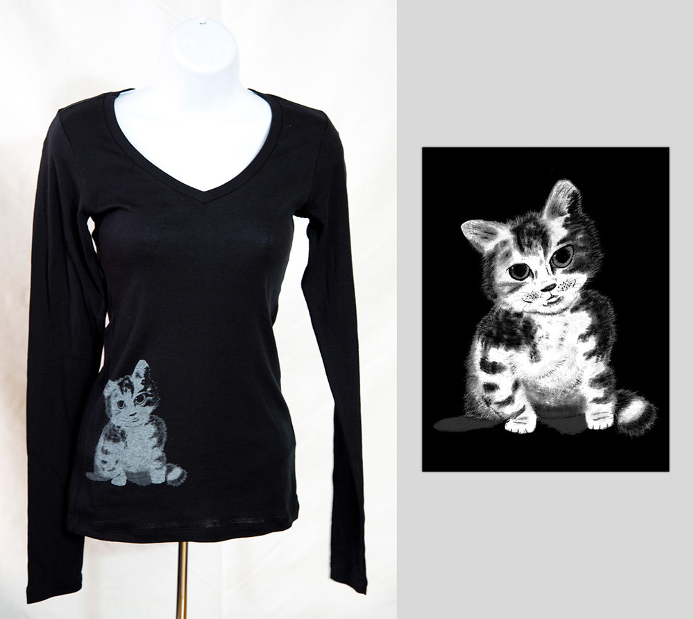 Sitting Kitty Long Sleeve Womens