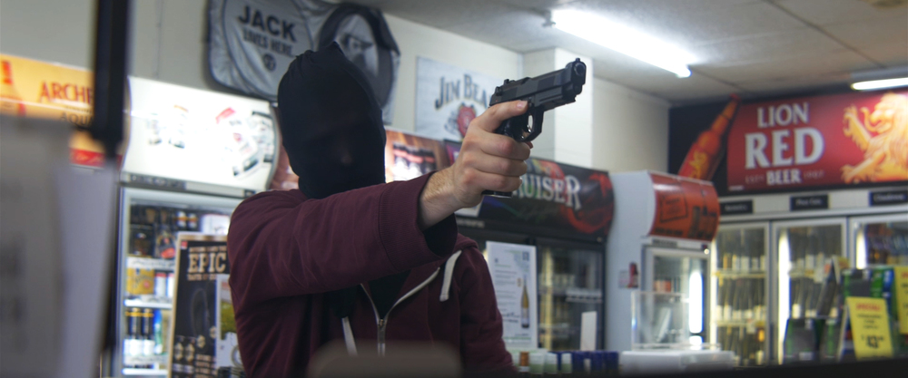 Robbing a liquor store! (tick that off the bucket list).  Note: No colour correction.