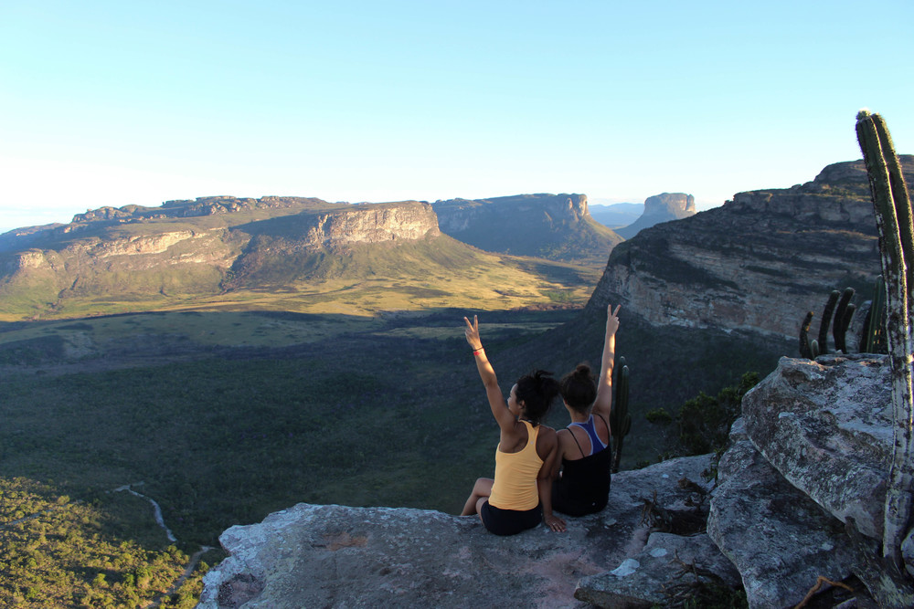 Possibly my favorite image of the day: Marina and I after a very full day at the summit of Morro do Pai Inacio.