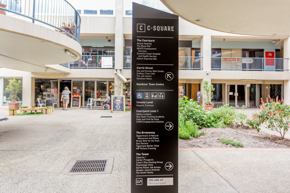 New C-Square signage, in the courtyard.