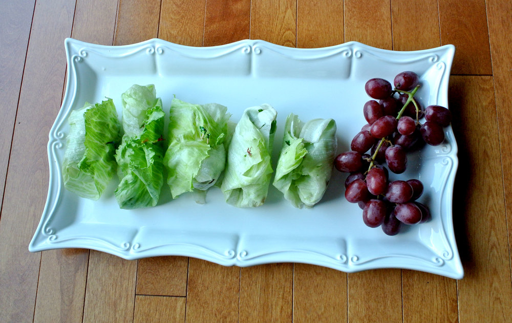 2) Make a decorative finger food or dessertFor the appetizer I wanted to do something simple, but appealing and tasty (and vegetarian); I opted for grape and bleu cheese lettuce wraps. Some other good options I considered are portobello mini sliders or mini pizzas the guests can put together themselves.