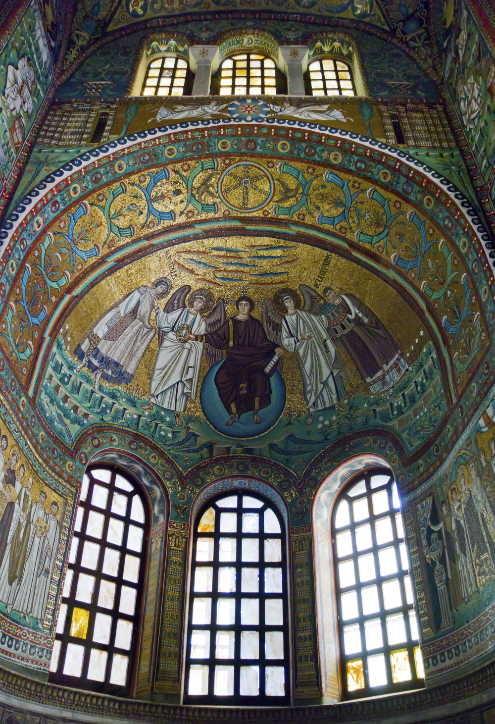 Basilica San Vitale, Ravenna, Italy  (the lilies above the windows served as the inspiration for my work at The Ravenna Mosaic School)