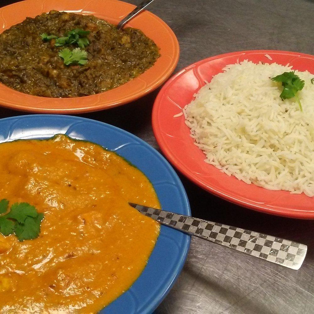 Palak Chole, Mango Chicken and Rice