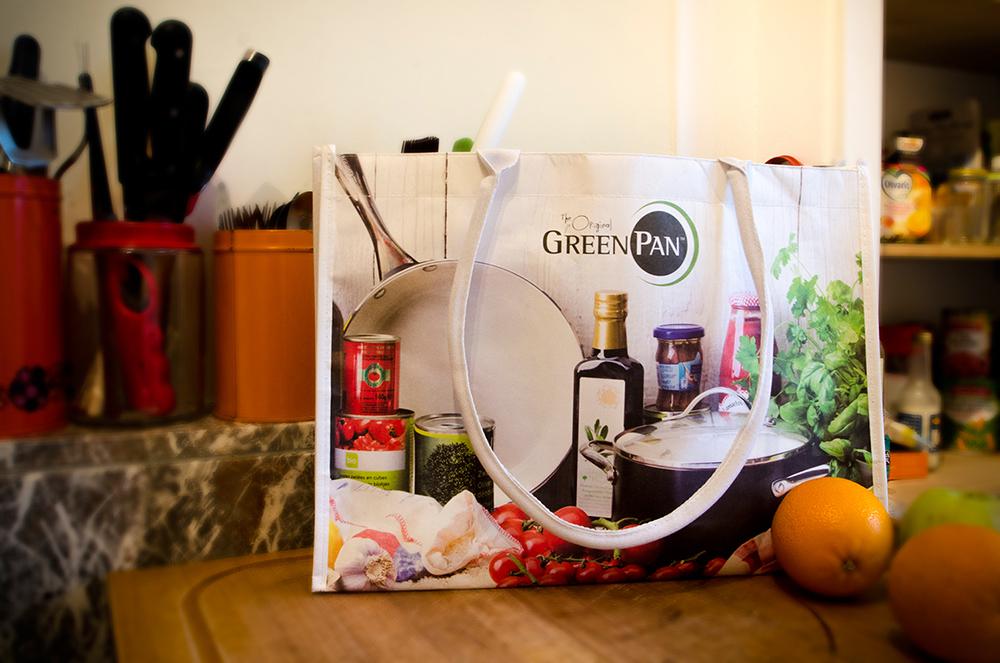 c-bags voor Green Pan // single cyclus ecologische draagtassen // PP non woven bedrukte draagtassen - kraft laminatie // betaalbare trendy draagtassen