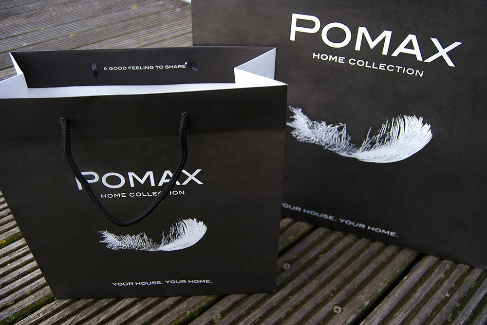 c-bags voor Pomax // multi cycli ecologische draagtassen // kraft papier bedrukte draagtassen // scherpe prijs!