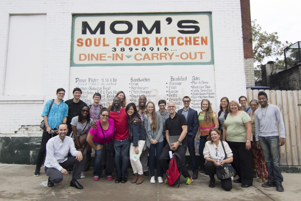 figure 4: Class picture after we ate at Mom's Soul Food Kitchen in St. Louis. Photo Credit: Jeff Knapke