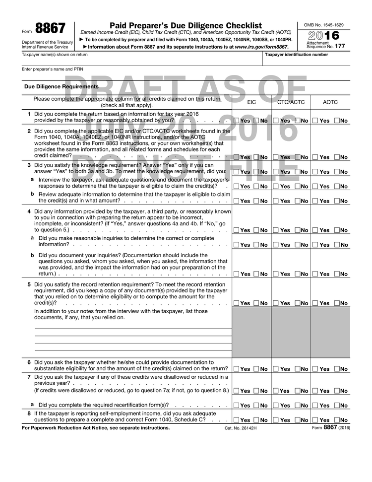 Draft Of Form For Expanded Preparer Due Diligence Released By Irs