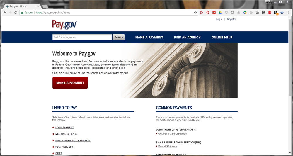 The pay.gov website.