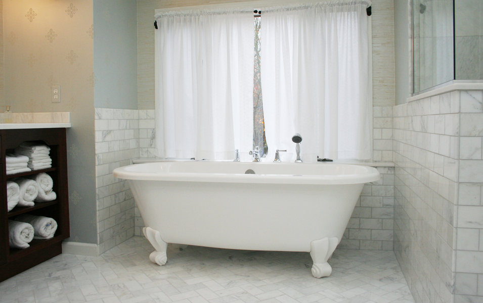 Pennington NJ Carrara Marble Bathroom Renovation Optizimized