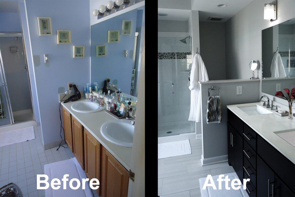 A e bathroom remodel shower installation princeton for Bath remodel before and after pictures