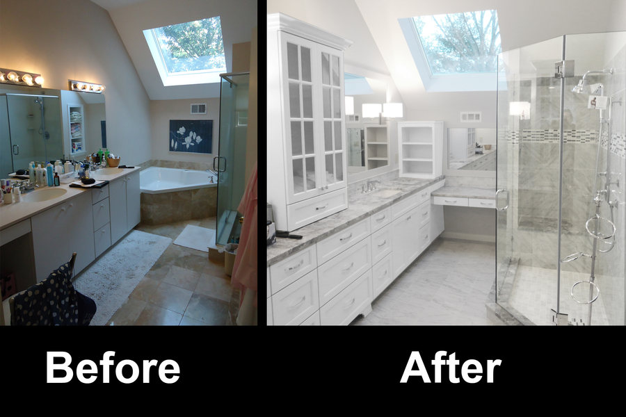AE Construction Carrara Marble Bathroom Before After.jpg