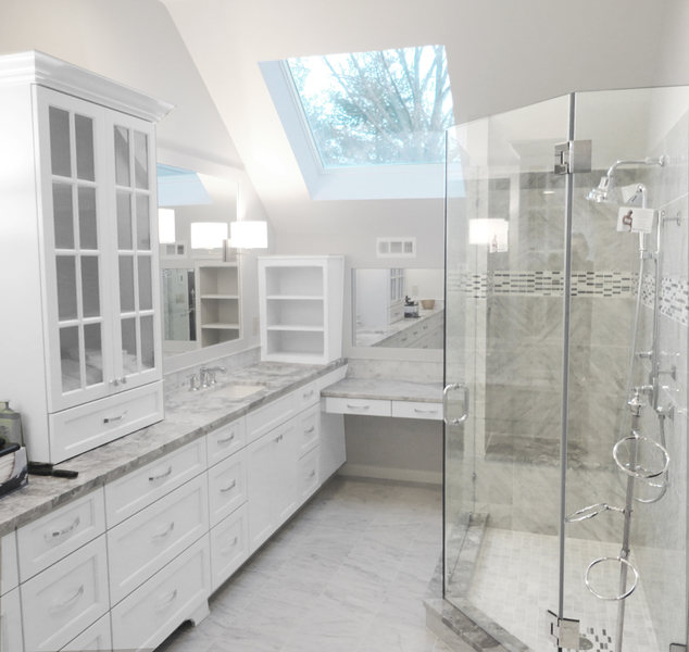 Pennington NJ Master Bath Renovation Marble Tile Glass Shower Skylight optimized.jpg