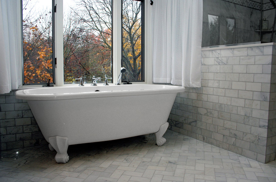 A amp E Construction Tile Bathroom Renovatoin Clawfoot Tub jpg. A amp E   Bathroom Remodel   Shower Installation   Princeton   NJ