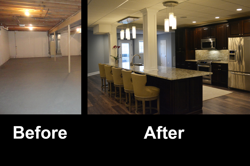 Finished basement before and after