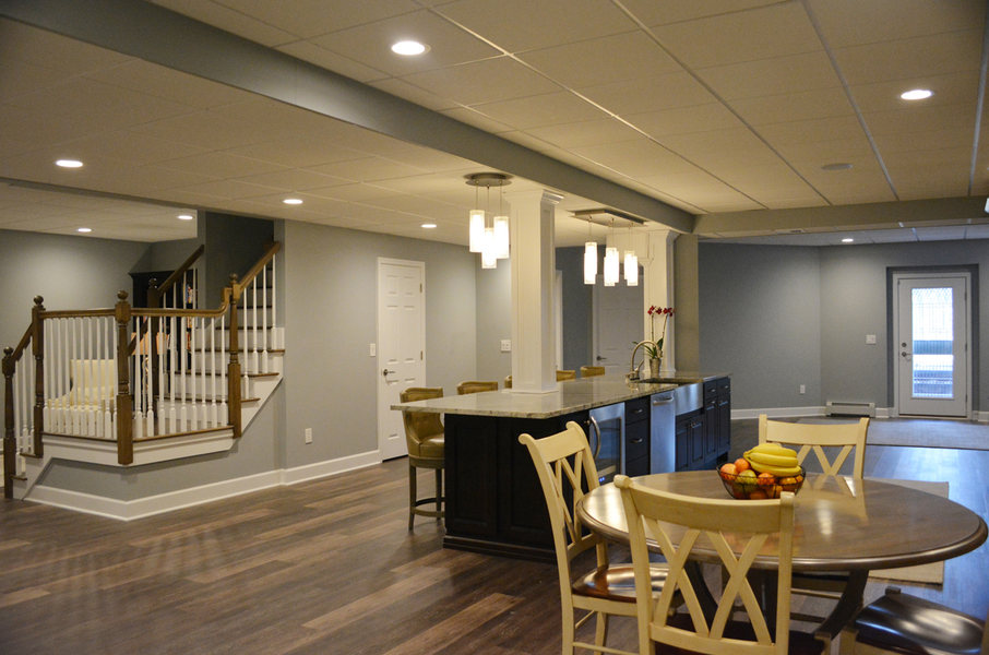 Princeton NJ Basement Renovation Kitchen Living Space Bedroom Bathroom  Optimized
