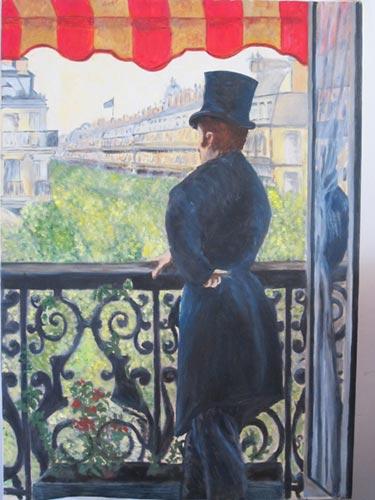 """""""Homme au balcon Boulevard Hausmann""""von Gustave Cailebotte"""