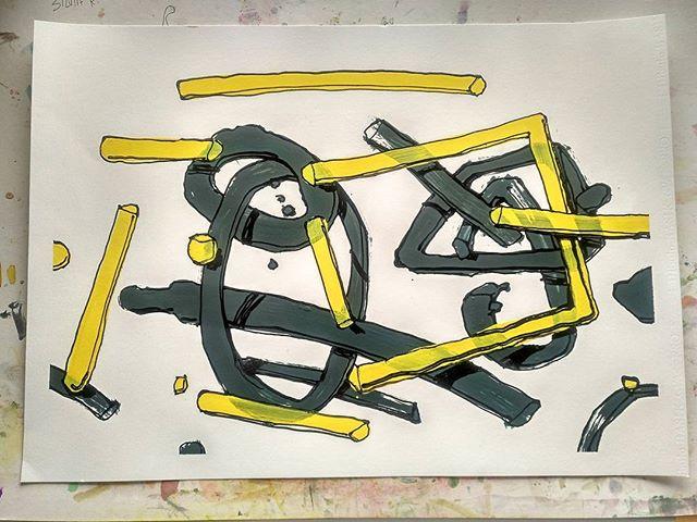 Entrando a Francia con los pies por delante. Acrílico y esmalte sobre papel Basik. 50x70cm.