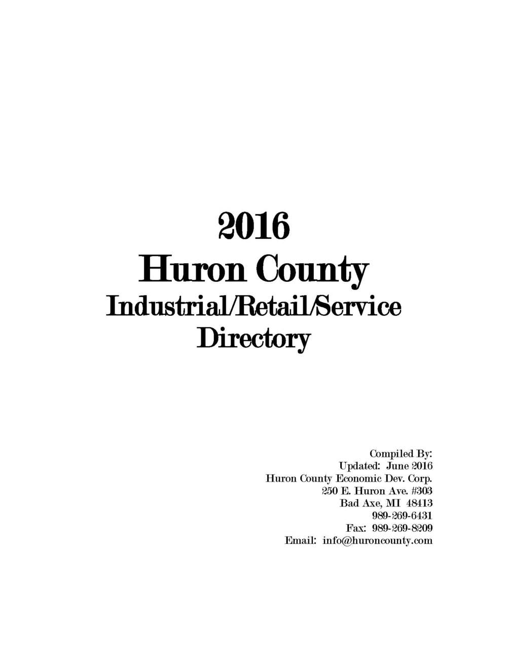 2015 Huron County Industrial/Retail/Service Directory