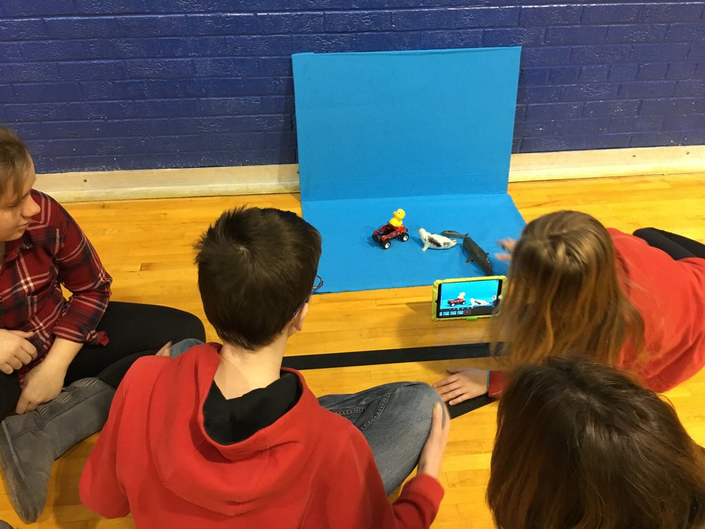 Students create stop motion videos as part of the STEM 6 & 7 with the Math, Science, Technology Center Staff