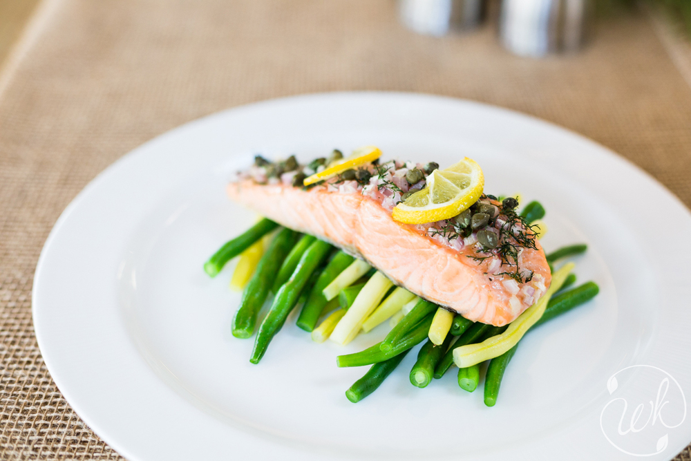 Roasted Salmon with Lemon, Fresh Dill, and Capers over Blanched Local Green Beans