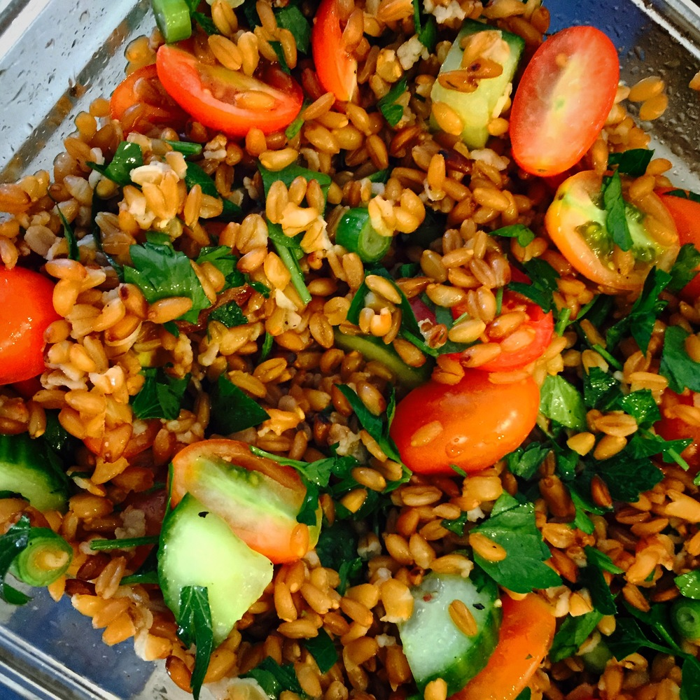 Farro Salad with Lemon Garlic Vinaigrette