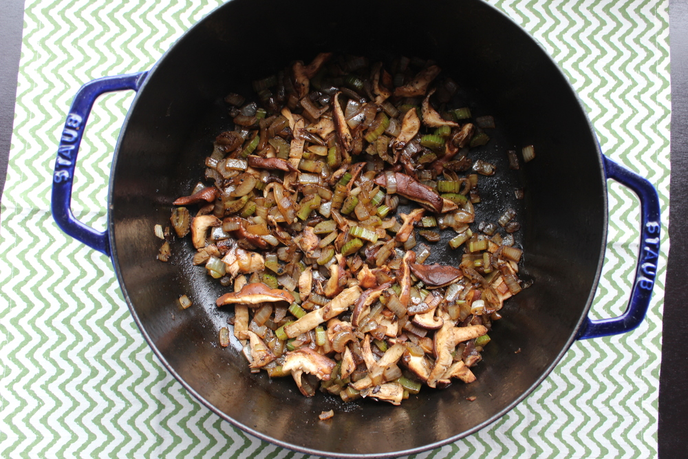 Sauteed onions, celery, shiitake mushrooms and garlic.