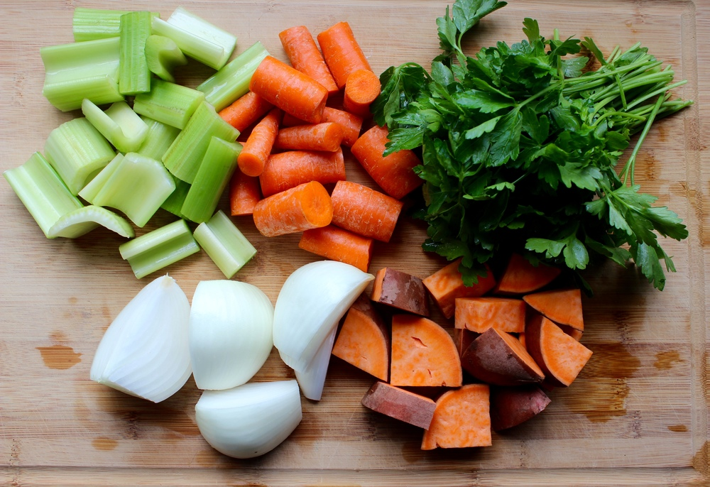 Vegetables for broth: Sweet potatoes, celery, carrot, onions, parsley