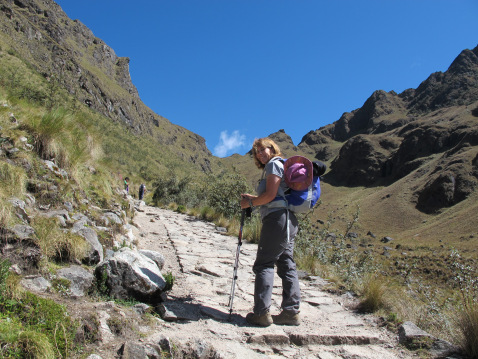 Emily at Dead Woman's Pass on the Inca Trail in Peru.