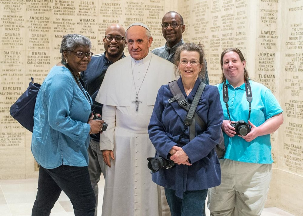 Posing with Pope Francis at the Basilica of the National Shrine Meetup.