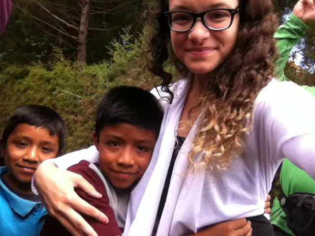 Crystal Gotay, the 2014 Broughton Travel Fellow, with two of her students at a school in Tecpan, Guatemala