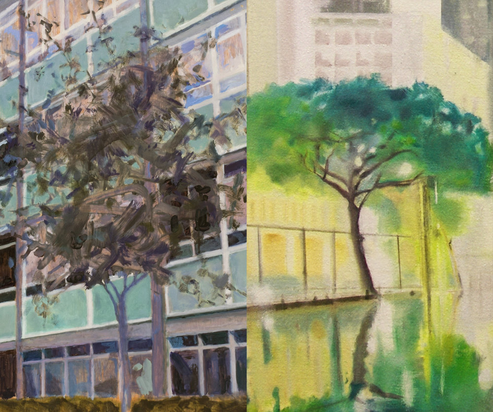 Trevor Burgess (left), A Place to Live L6, oil on plywood 67 x 122 2013  Alexandra Baraitse (right) Lightness adnd Vision oil on canvas 94 x 94cm 2019