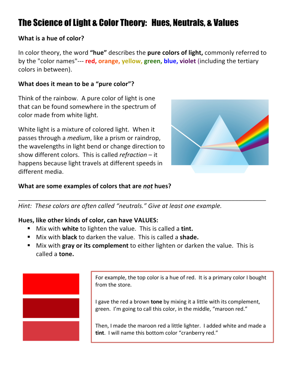 worksheet Light And Color Worksheet painting optics color theory vanessa garcia hutchins basics 2