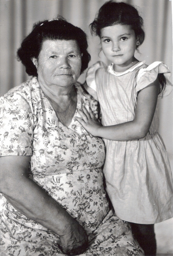 Sascha and her grandmother Shura. The dresses are made by Shura.