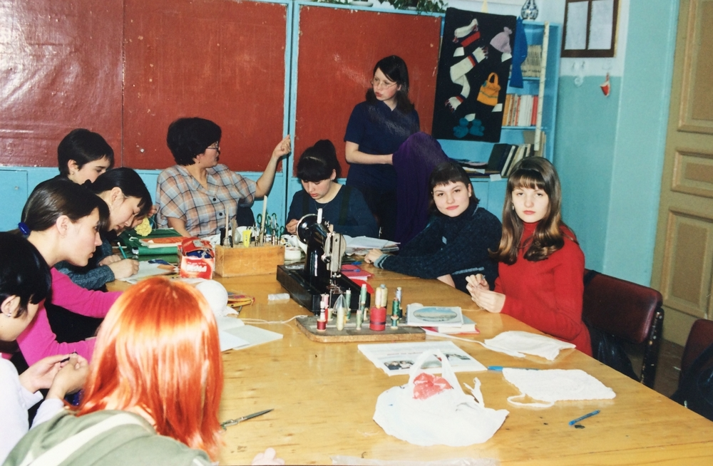 Sascha and her best friend Olya (on the right) at the sewing class in high school.