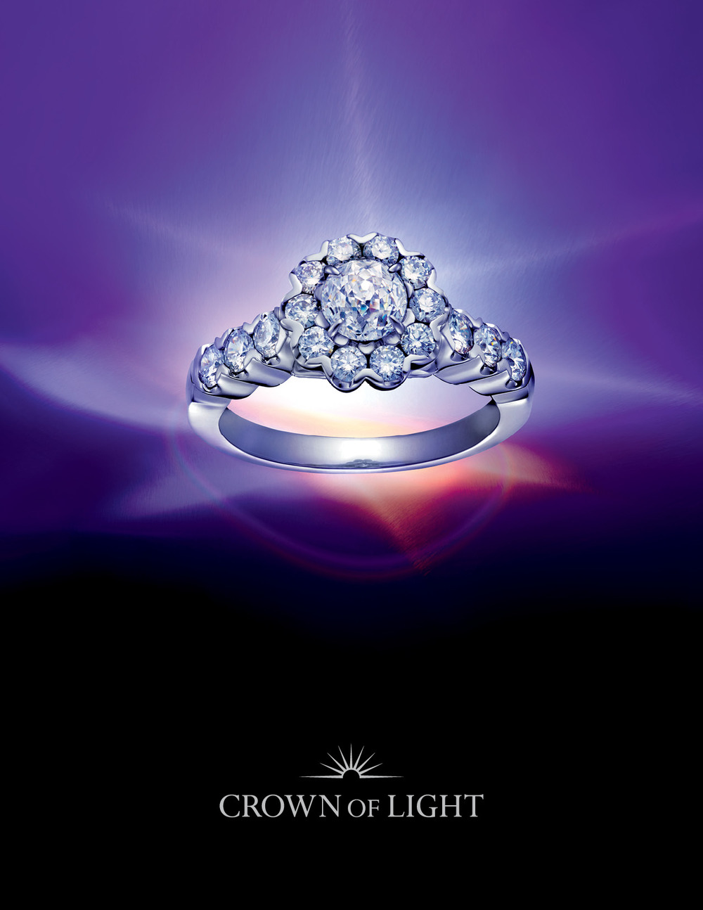 Luxury Fine Jewelry Brand Crown of Light Logo Design, Packaging Design, and Print Collateral, In-Store Displays, and Advertising Creative Direction by Benard Creative.