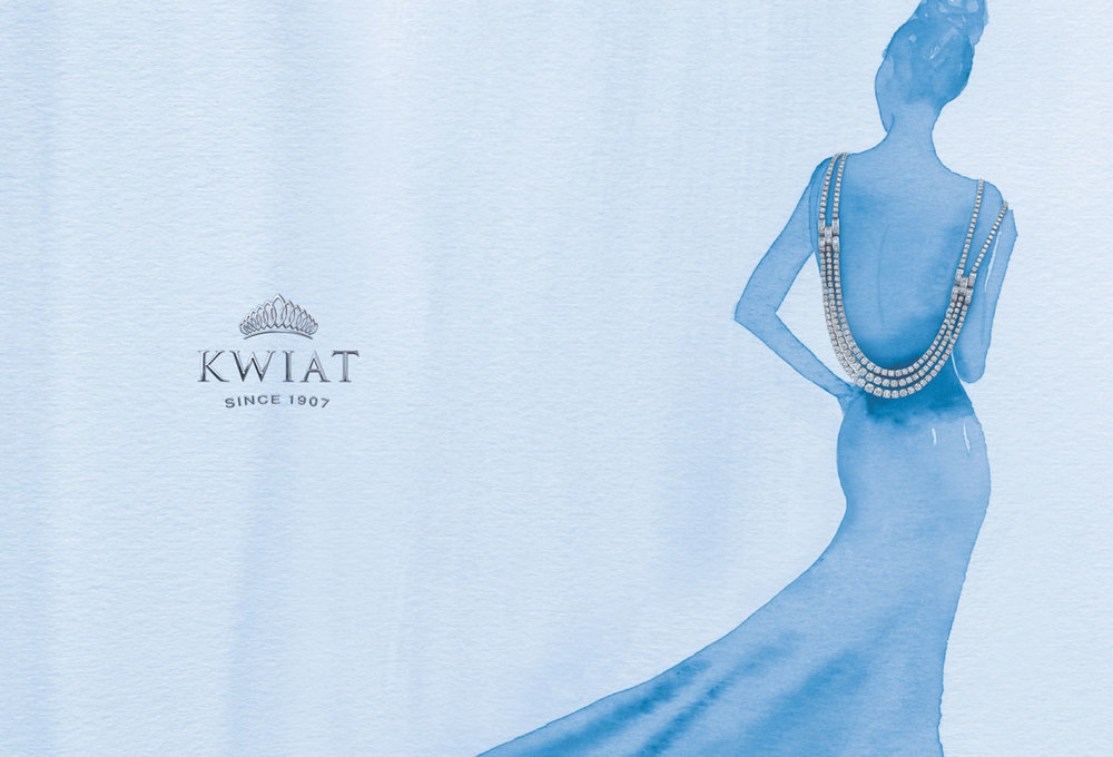 Watercolor Painting Advertising Campaign for Luxury Fine Jewelry Brand, Kwiat. Includes Embossed and Engraved Logo Design by Benard Creative.