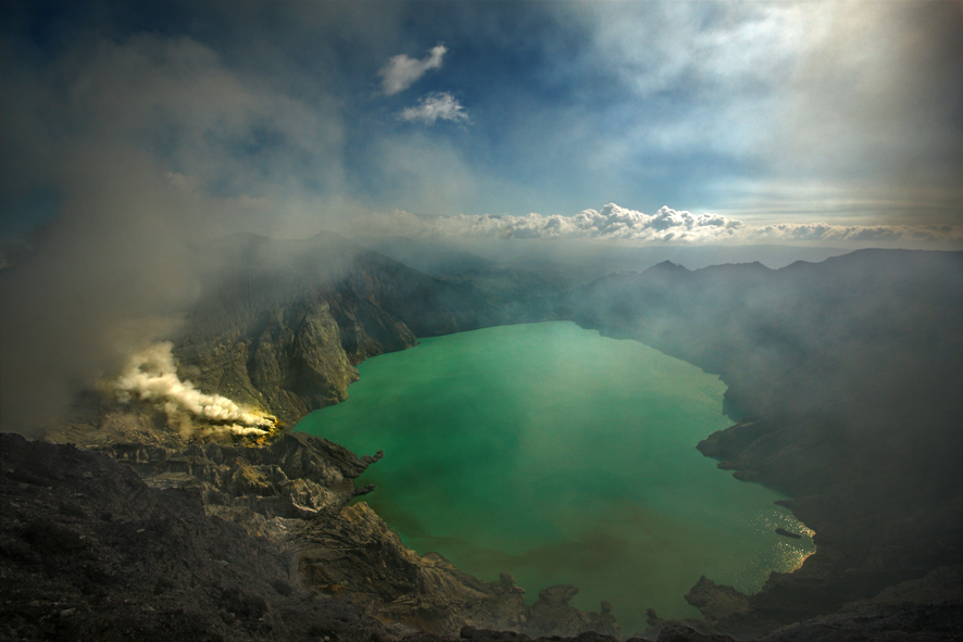 The Kawah Ijen is an active volcano set in the scenic landscape of East Java, Indonesia; hosting one of the largest highly acidic lakes in the world.