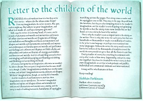 essays siobhan parkinson letter to the children of the world international children s book day 2014