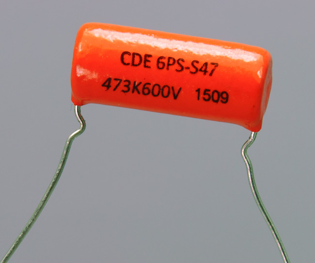 "A very popular ""Orange Drop"" capacitor."