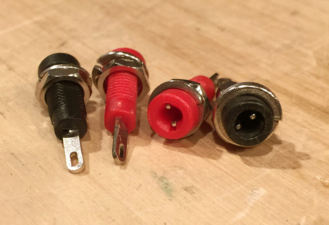 These 2mm jacks will allow a multi-meter to be plugged into the capacitor box to measure the resistance of the tone controls.