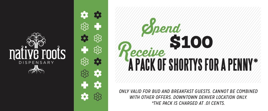 Present this coupon &your Bud+Breakfast conformation email at the downtown Denver Native Roots location and receive this incredible offer. Must be a current guest at the Adagio Bud+Breakfast.