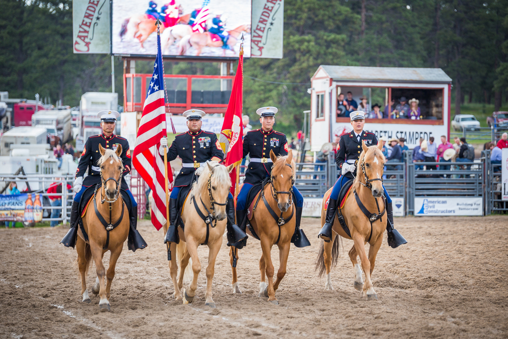 Marine Corps Mounted Color Guard at the 2015 Elizabeth Stampede  1/125 * f/2.8 * ISO 125 * 200mm