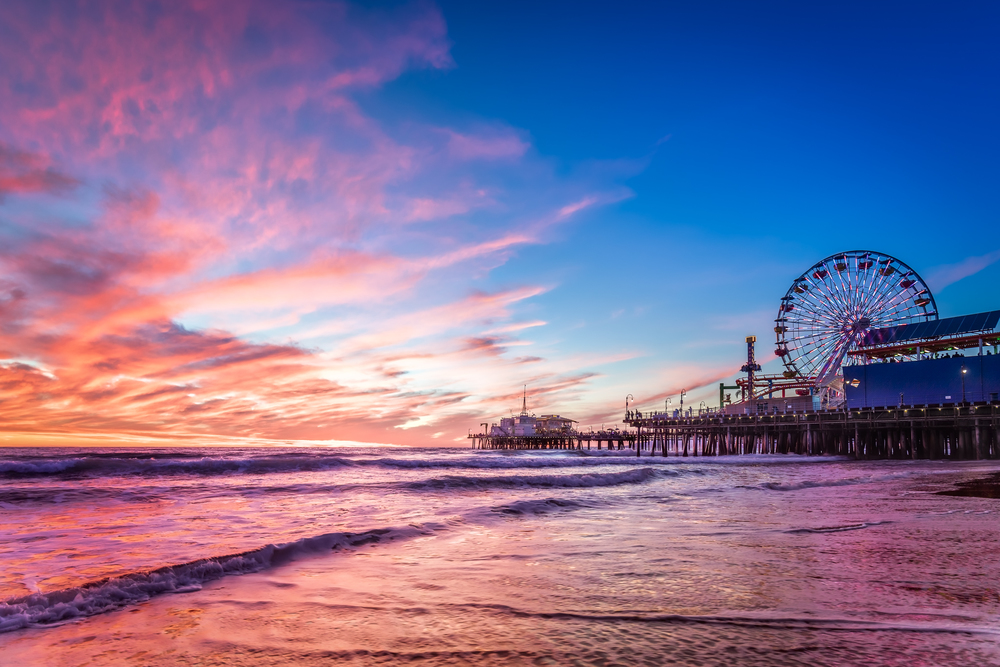 Sunset on the Santa Monica Pier. The sky was just crazy awesome and we definitely lucked out!