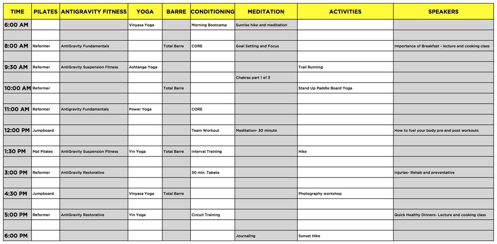 Awaken Retreats — Sample Schedule & Classes